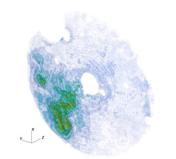 Трехмерное распределение плотности молекулярного газа, полученное на основе рентгеновских наблюдений.