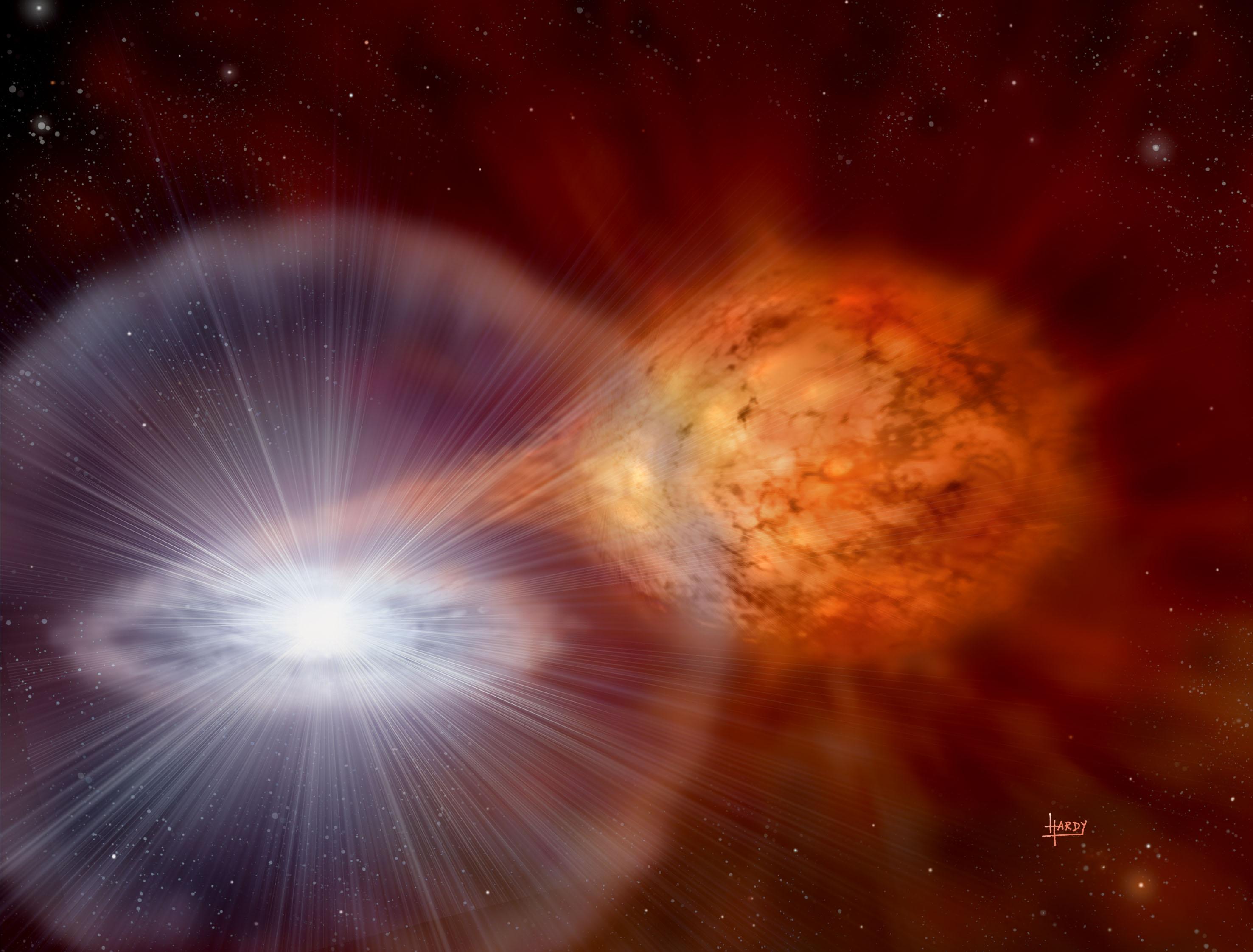 Художественное изображение белого карлика, медленно увеличивающего свою массу за счет аккреции вещества звезды-компаньона в тесной двойной системе.